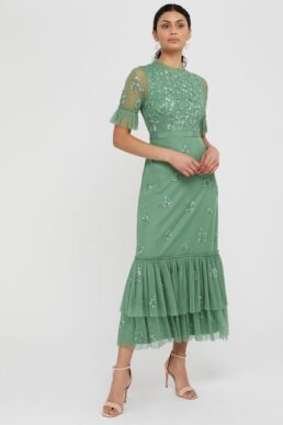 Monsoon Lili embellished midaxi dress green