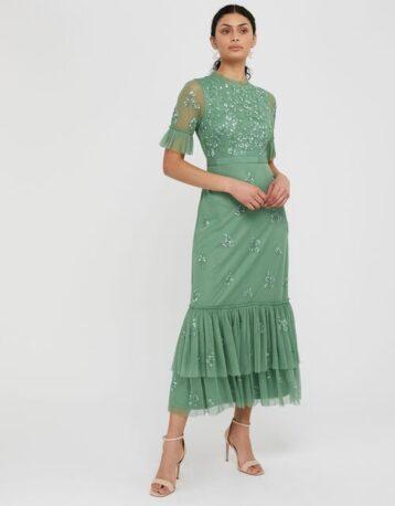 Monsoon Lili embellished midaxi dress green
