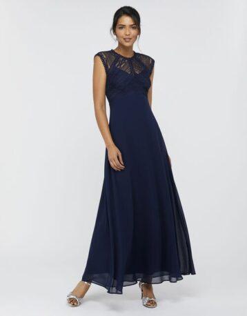 Monsoon Lolita maxi dress with lace bodice blue Navy