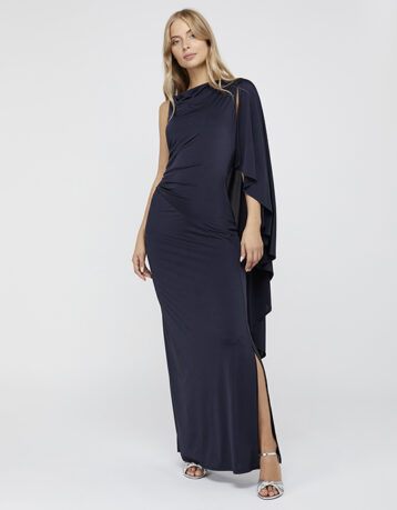Monsoon Ophelia One Shoulder Cape Maxi Dress Navy