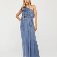 Monsoon Odell Sustainable Sequin One-Shoulder Maxi Dress Blue