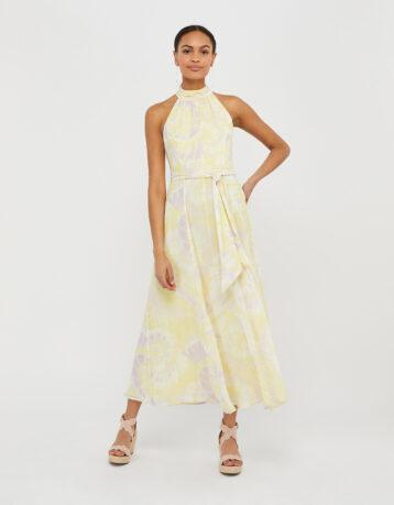 Monsoon Tori Tie-Dye Midaxi Dress Yellow White