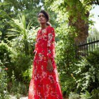 Phase Eight Bernadette Floral Chiffon Maxi Dress Red Multi
