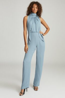 Reiss Adele Bow Detail Jumpsuit Pale Blue