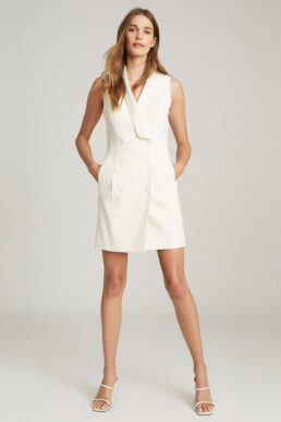 Reiss Antoine Sleeveless Tuxedo Dress White Cream