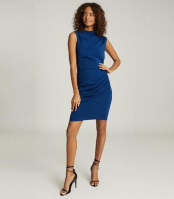 Reiss Bali Ruched Bodycon Dress Blue
