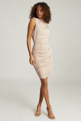 Reiss Bali Ruched Bodycon Dress Nude