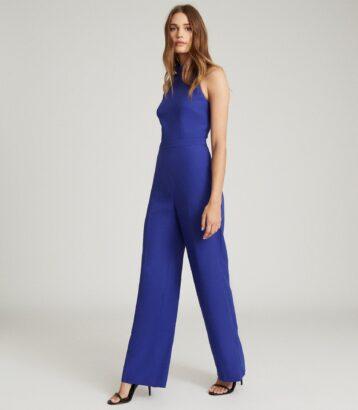 Reiss Dory High-Neck Open Back Jumpsuit Blue
