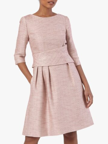 The Fold Camelot Tweed Dress Pink Blush