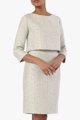 The Fold Northcote Tweed Dress White
