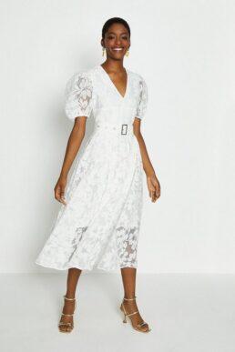 Coast Deep V Puff Sleeve Midi Dress Ivory