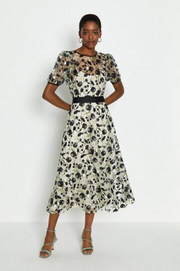 Coast Embroidered Floral Midi Dress White Black