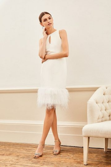 Karen Millen Feather Hem Halter Neck Dress Ivory