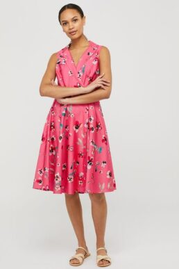 Monsoon Maisy floral dress in organic cotton pink multi