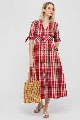 Monsoon S.E.W. SUSTAINABLE Check midi dress in organic cotton red multi