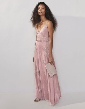 Monsoon Arabella sustainable star embellished maxi dress pink blush