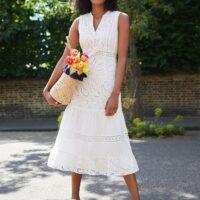 Phase Eight Lula Paisley Embroidered Dress White