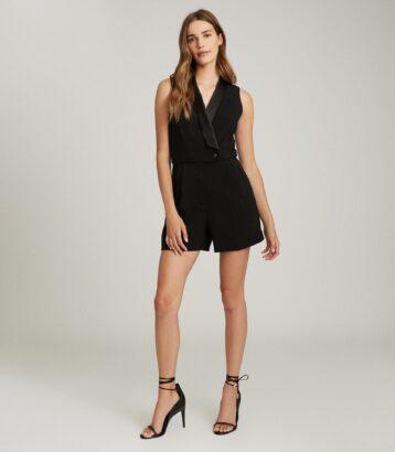 Reiss Antoine Sleeveless Tuxedo Dress Black
