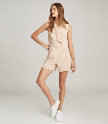 Reiss Antoine Sleeveless Tuxedo Dress Neutral Blush Pink