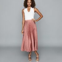 Reiss Dora Pleated Midi Skirt Blush Pink Red