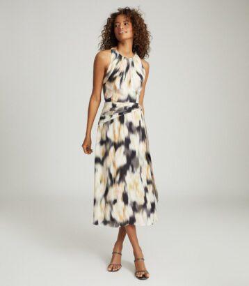 Reiss Smudge Print Dress Gisele Smudge Print Midi Brown Cream Orange