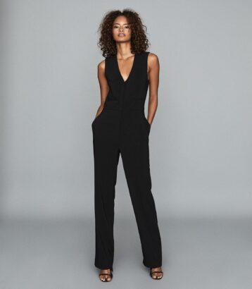 Reiss Valerie Tailored Jumpsuit Black