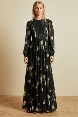 Ted Baker DEENHA Elderflower floral print sleeve maxi dress Black Ivory