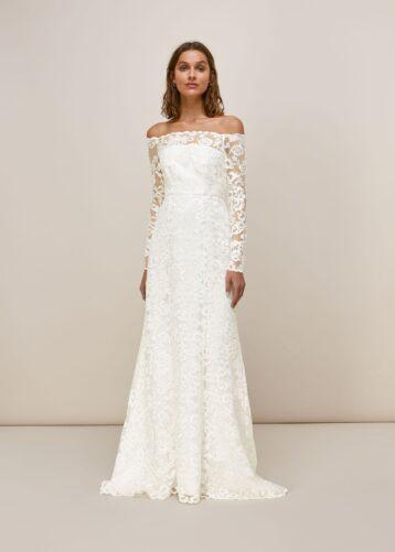 Whistles Melba Bardot Lace Sleeve Wedding Dress Ivory