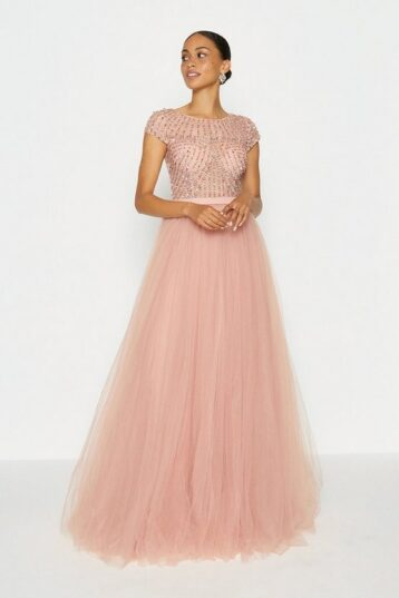 Coast Cap Sleeve Glitter Tulle Skirt Maxi Dress Pink Light Blush