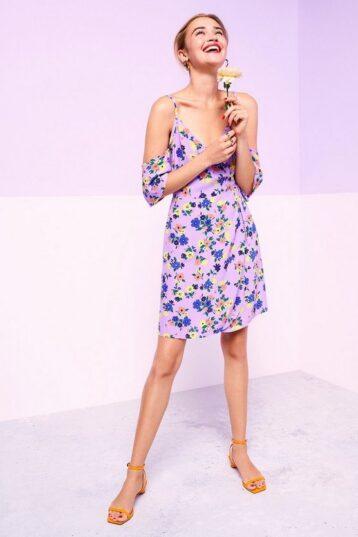 Coast Cold Shoulder Wrap Short Dress Lilac Multi