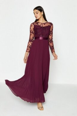 Coast Embroidered Long Sleeve Maxi Bridesmaid Dress, Aubergine/Berry Red