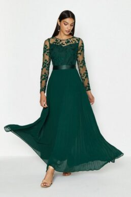 Coast Embroidered Long Sleeve Maxi Bridesmaid Dress Green