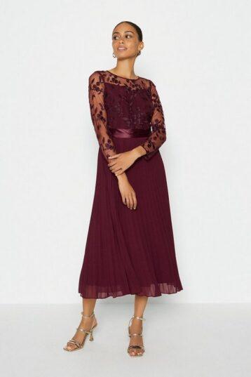 Coast Embroidered Long Sleeve Midi Bridesmaid Dress Aubergine Berry Red