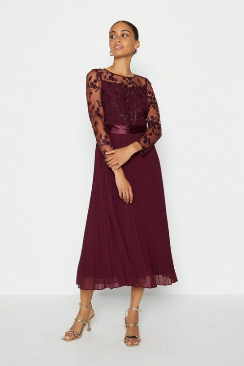 Coast Embroidered Long Sleeve Midi Bridesmaid Dress Aubergine Berry Red