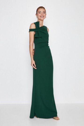 Coast Shoulder Bow Maxi Dress Green
