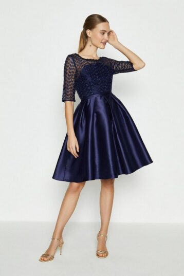 Coast Lace Bodice Full Skirt Dress Navy Blue