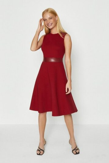 Coast Pu Panelled Ponte Fit And Flare Dress Berry Red