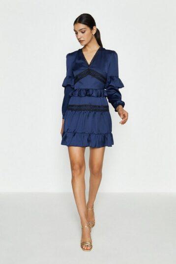 Coast Ruffle Lace And Mix Dress Navy