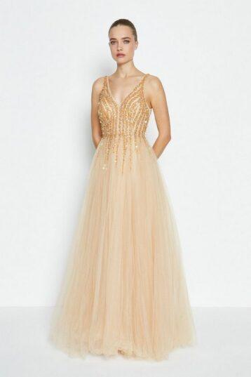 Coast Sequin Bodice Tulle Skirt Maxi Dress Gold
