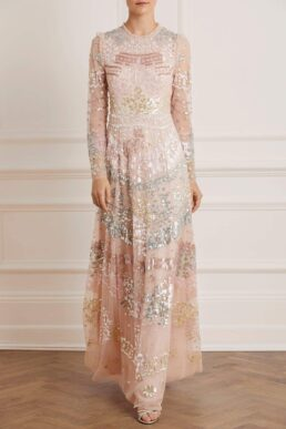 Needle & Thread Angeline Sequin Maxi Gown Pink Blush