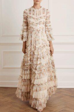 Needle & Thread La Vie En Rose Avery Gown Cream Multi