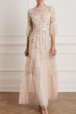 Needle & Thread Shimmer Ditsy Long Sleeve Maxi Gown Pink Blush