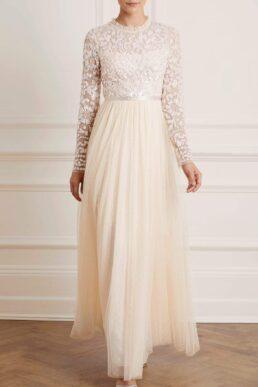 Needle & Thread Tempest Bodice Maxi Dress Ivory White