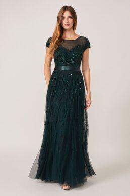 Phase Eight Renee Beaded Tulle Dress Emerald Green