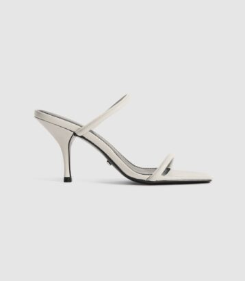 Reiss Magda leather strappy heeled sandals white
