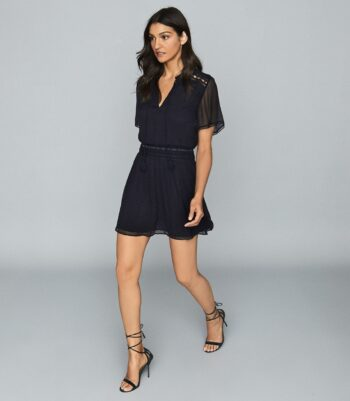 Reiss Sam Embroidered Chiffon Dress Navy Blue