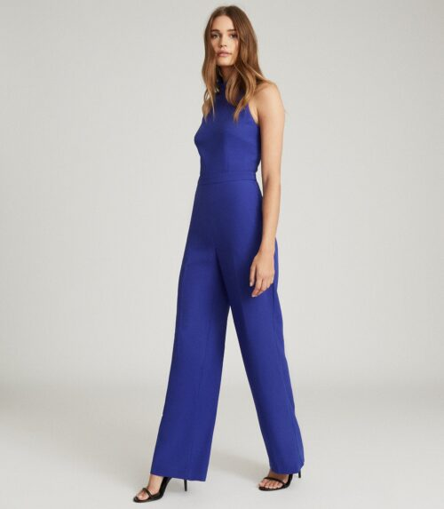 HIGH NECK OPEN BACK JUMPSUIT BLUE