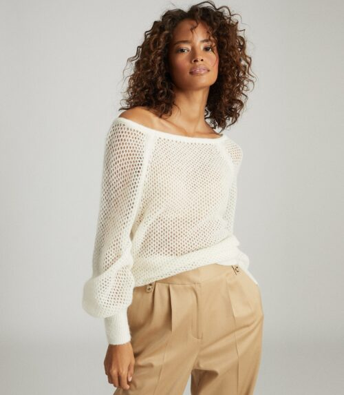 OPEN-KNIT JUMPER WHITELAURIE OPEN-KNIT JUMPER IN WHITE