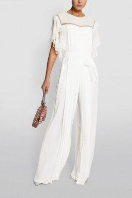 Alberta Ferretti Silk Pleated Jumpsuit White Gold