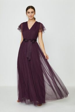 Coast Tulle V-NeckTie Belt Maxi Dress Purple Berry